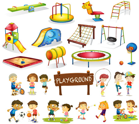 Illustration for Children playing and playground set illustration - Royalty Free Image