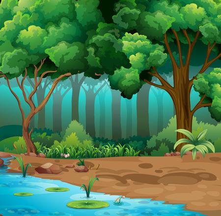 Illustration pour River run through the jungle illustration - image libre de droit