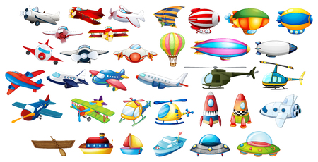 Illustration pour Airplane toys and balloons illustration - image libre de droit