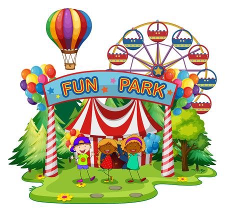Illustration pour Kids at fun park illustration - image libre de droit