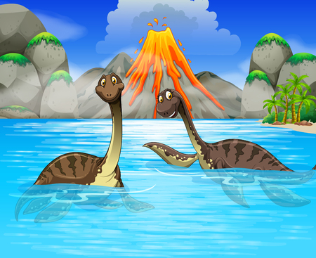 Ilustración de Dinosaurs swimming in the lake illustration - Imagen libre de derechos