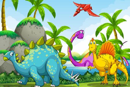 Photo pour Dinosaurs living in the jungle illustration - image libre de droit