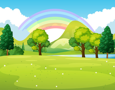 Illustration pour Nature scene of a park with rainbow illustration - image libre de droit