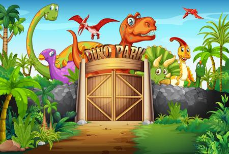 Illustration pour Dinosaurs living in the park illustration - image libre de droit