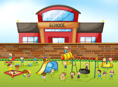 Illustration for School building and playground illustration - Royalty Free Image