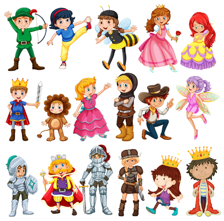 Illustration for Different characters from fairytales illustration - Royalty Free Image