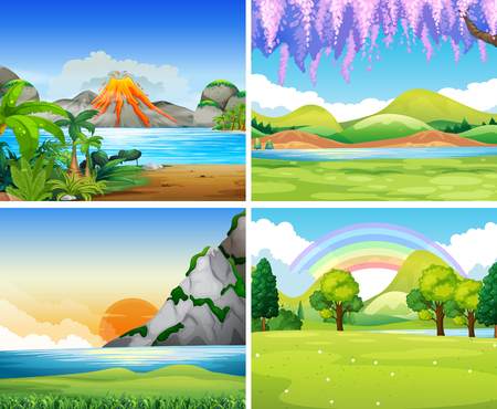Illustration pour Four nature scenes with lake and park illustration - image libre de droit