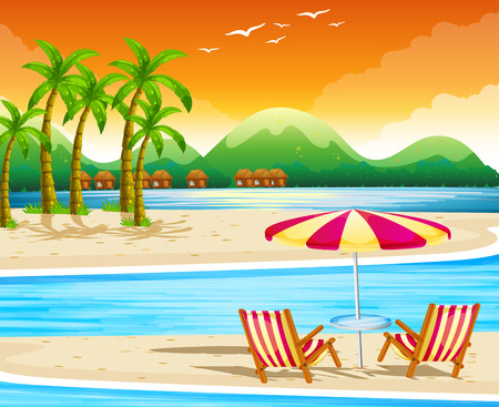 Illustration pour Beach scene with chairs and umbrella illustration - image libre de droit