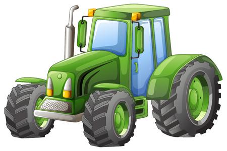 Illustration pour Green tractor with big wheels illustration - image libre de droit