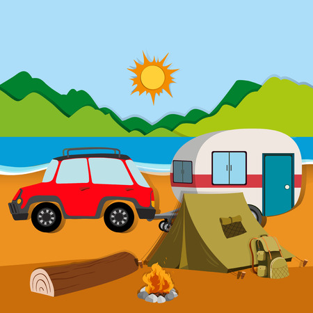 Illustration pour Cameground with tent and caravan illustration - image libre de droit