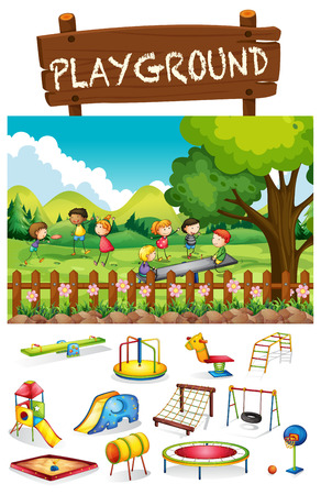 Illustration for Playground scene with children and toys illustration - Royalty Free Image