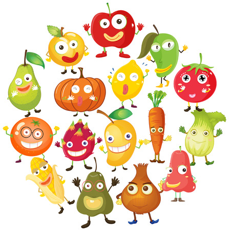 Fruits and vegetables with face illustration