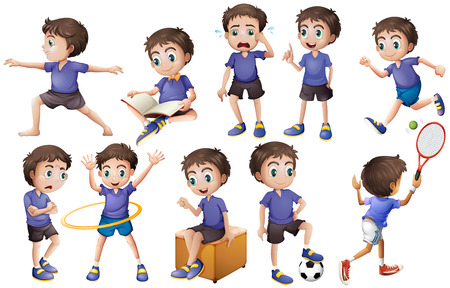 Illustration pour Boy doing different activities illustration - image libre de droit