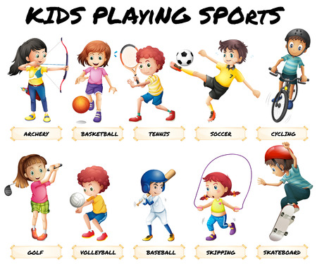 Ilustración de Boys and girls playing sports illustration - Imagen libre de derechos