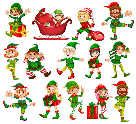 Illustration pour Christmas elf in different positions illustration - image libre de droit