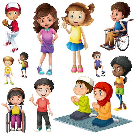 Ilustración de Boys and girls doing different activities illustration - Imagen libre de derechos