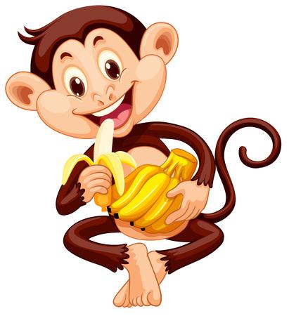 Illustration pour Little monkey eating banana illustration - image libre de droit