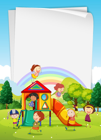 Illustration for Border design with children in the playground illustration - Royalty Free Image