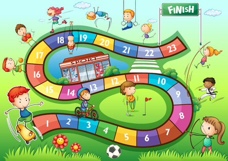 Illustration pour Boardgame template with sport theme illustration - image libre de droit