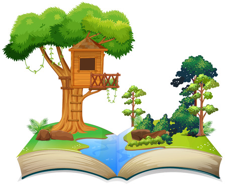 Ilustración de Treehouse by the river on a book illustration - Imagen libre de derechos