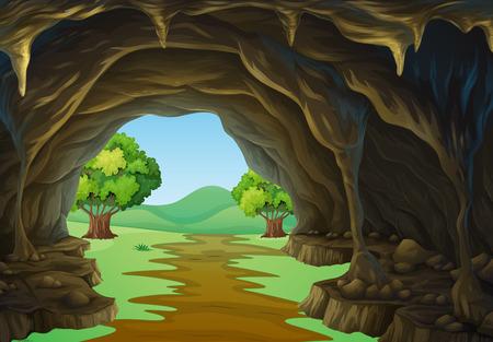 Illustration pour Nature scene of cave and trail illustration - image libre de droit