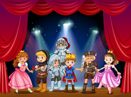 Illustration for Stage play with children in costumes illustration - Royalty Free Image