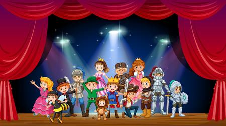 Ilustración de Children wearing costume on stage illustration - Imagen libre de derechos