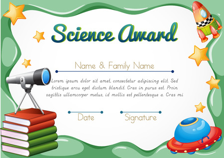 Illustration pour Certificate with science objects in background illustration - image libre de droit