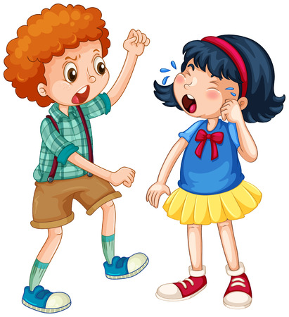 Illustrazione per Boy teasing little girl illustration - Immagini Royalty Free