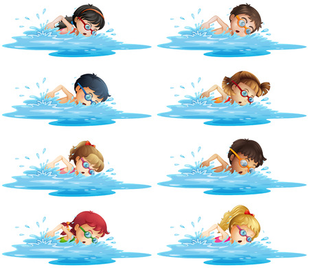 Illustration pour Many children swimming in the pool illustration - image libre de droit