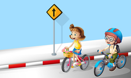 Illustration pour Boy and girl riding bike on the street illustration - image libre de droit