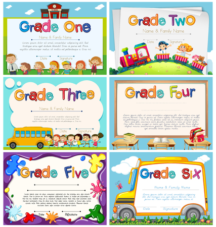 Photo pour Diploma templates for primary school illustration - image libre de droit