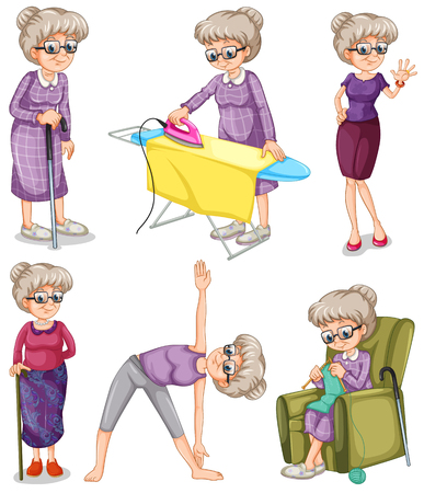 Ilustración de Old woman in different actions illustration - Imagen libre de derechos