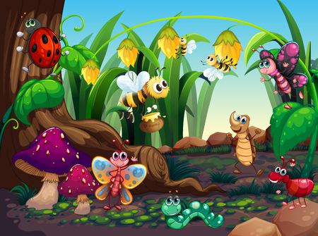 Photo pour Many insects living in the garden illustration - image libre de droit