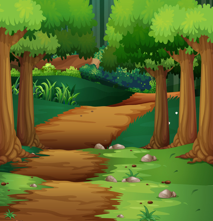 Ilustración de Forest scene with dirt road in the middle illustration - Imagen libre de derechos