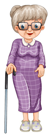 Ilustración de Old lady with walking stick illustration - Imagen libre de derechos