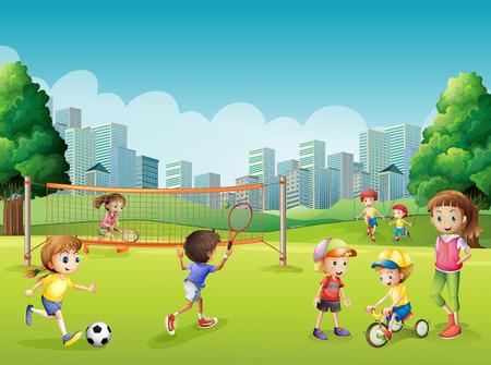 Illustration pour Children playing sports in the park illustration - image libre de droit