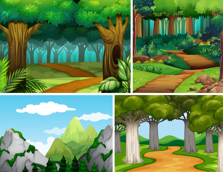 Ilustración de Four nature scenes with forest and mountain illustration - Imagen libre de derechos