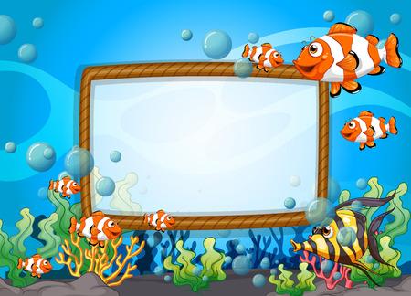 Illustration pour Frame design with fish underwater illustration - image libre de droit