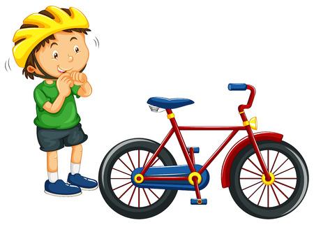 Illustration pour Boy wearing helmet before riding bike illustration - image libre de droit