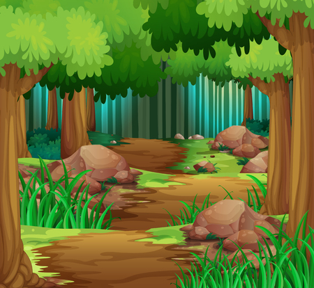 Ilustración de Scene with hiking track in the forest	 illustration - Imagen libre de derechos