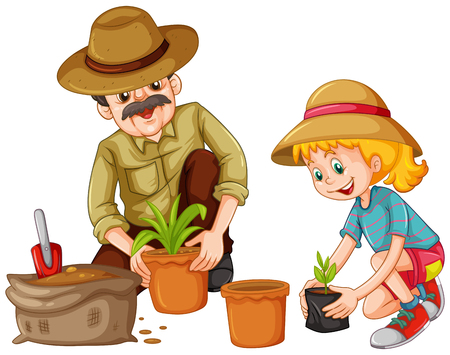 Illustration pour Grandfather and kid planting trees illustration - image libre de droit