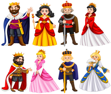 Illustration for Different characters of king and queen illustration - Royalty Free Image