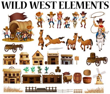 Illustration pour Wild west cowboys and buildings  illustration - image libre de droit