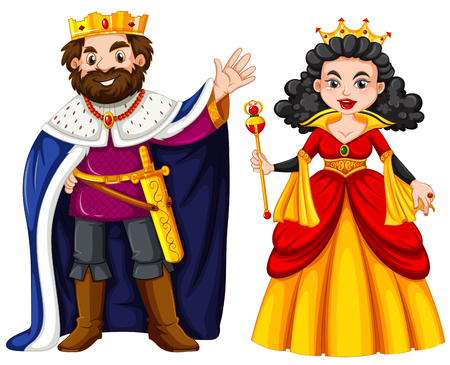 Illustration for King and queen with happy face illustration - Royalty Free Image