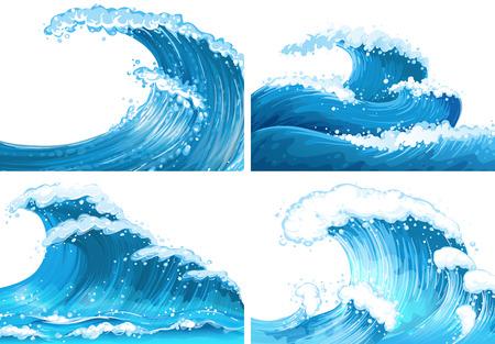 Ilustración de Four scenes of ocean waves illustration - Imagen libre de derechos