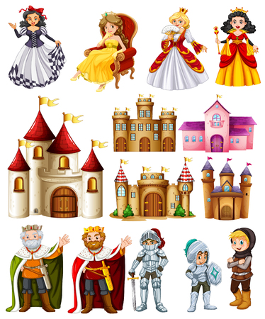 Illustration for Different fairytales characters and palace illustration - Royalty Free Image