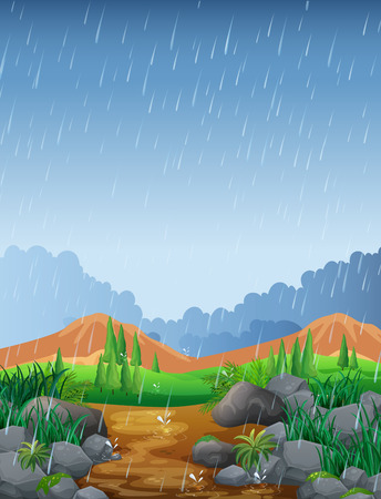 Scene with rainfall in the field illustration