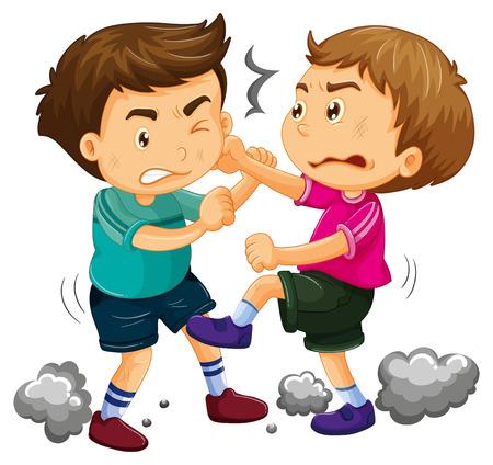 Illustrazione per Two young boys fighting  illustration - Immagini Royalty Free