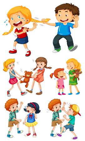 Illustrazione per Big kids fighting with little kids illustration - Immagini Royalty Free